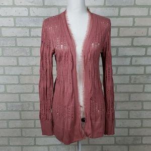 Lauren Conrad Dusty Rose Open Knit Cardigan SM